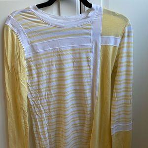Yellow and white long sleeve lulu top